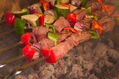Barbecue op vleespennen Stock Foto's