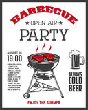 Barbecue open air party flyer template. Grill with kitchen tools. Steaks, sausage. Design elements for restaurant menu, poster. Vector illustration Royalty Free Stock Image