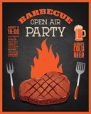 Barbecue open air party flyer template. Grilled meat on dark. Background. Vector illustration royalty free illustration