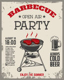 Barbecue open air party flyer. Vintage grill on grunge backgroun Royalty Free Stock Image
