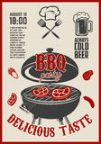 Barbecue open air party flyer. Vintage grill on grunge backgroun Royalty Free Stock Images