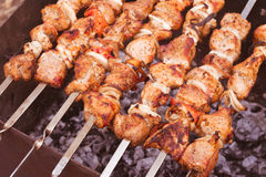 Barbecue over the coals stock photo