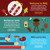 Barbecue party banner horizontal set, flat style. Barbecue party banner horizontal concept set. Flat illustration of 3 barbecue party vector banner horizontal Stock Images