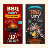 Barbecue Party Banners Set. Barbecue party vertical realistic banners set with sausages and vegetables  vector illustration Stock Image