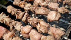 Barbecue party. Chef cooking delicious meat at outdoor grill stock footage