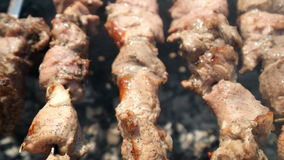 Barbecue party. Cooking delicious meat at outdoor grill stock video