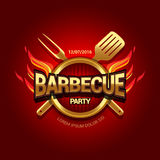 Barbecue party design with fire on shield, Barbecue invitation. Barbecue logo. BBQ template menu design. Barbecue Food flyer. Barbecue advertisement. Barbecue Royalty Free Stock Images