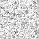 Barbecue party doodle seamless pattern Royalty Free Stock Photo