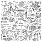 Barbecue party doodle set royalty free illustration
