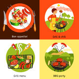 Barbecue Party 4 Flat Icons Square Stock Images