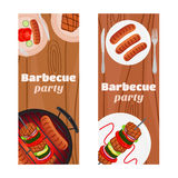 Barbecue party flyers, invitation banner. Fried meat, sausages. Stock Images