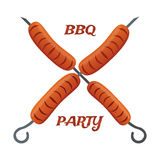Barbecue party, fried sausages on skewers. Tasty BBQ for picnic. Stock Photo
