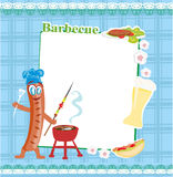 Barbecue Party funny Invitation card Stock Images