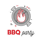 Barbecue party with grill and fire. Line art logotype design Stock Photo