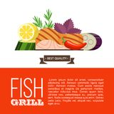 Barbecue party. Grilled fish and vegetables. Vector illustration. Grilled fish. Delicious grilled salmon surrounded by vegetables. Still life of fish, zucchini Stock Photos