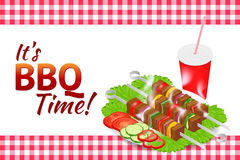 Barbecue party horizontal banner. Grill summer food. Picnic cooking device. Flat isometric illustration. Family weekend Royalty Free Stock Images