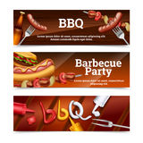 Barbecue Party Horizontal Banners Stock Image