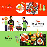 Barbecue Party 3 Horizontal Banners Set Stock Photos