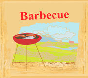 Barbecue Party Invitation. Grunge  illustration Royalty Free Stock Photos