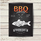 Barbecue party invitation. BBQ brochure menu design. Stock Photos