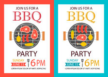 Barbecue party invitation. BBQ template flyer Royalty Free Stock Photos