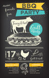 Barbecue party invitation. BBQ template menu design. Food flyer. Royalty Free Stock Image