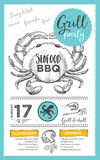 Barbecue party invitation. BBQ template menu design. Food flyer. Royalty Free Stock Photos