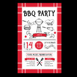 Barbecue party invitation. BBQ template menu design. Food flyer. Stock Photo
