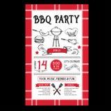 Barbecue party invitation. BBQ template menu design. Food flyer. Stock Photo