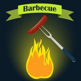 Barbecue party invitation card design template. Fire, sausage, fork. Vector illustration, flat style. Barbecue party invitation card design template. Fire Royalty Free Stock Image