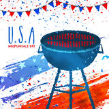 Barbecue Party Invitation Card for 4th of July. Royalty Free Stock Image