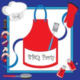Barbecue party invitation with large apron Stock Photography