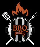 Barbecue Party label Stock Image