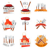 Barbecue Party Label Set. Colored isolated barbecue party label set with barbecue I love grill barbeque party and other descriptions vector illustration Royalty Free Stock Images