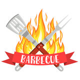 Barbecue party logo. Bbq and Grill icon with fire, fork and spatula. Vector illustration in flat style Stock Image