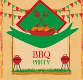 Barbecue Party menu card Invitation Royalty Free Stock Image