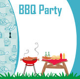 Barbecue Party menu card Invitation. Vector Illustration Stock Images