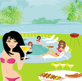 Barbecue party by the pool Stock Photography