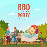 Barbecue Party Poster. Colored cartoon barbecue party poster with family in backyard of their house vector illustration Stock Photos