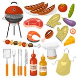 Barbecue party products BBQ grilling kitchen outdoor family time cuisine vector icons illustration.  vector illustration