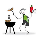 Barbecue party. Barbecue scene with funny character royalty free illustration