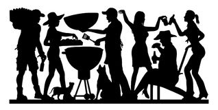 Barbecue Party Silhouette - Memorial Day. Barbecue Party Silhouette. The silhouette image is in a unique layer and it can be use without the white background royalty free illustration