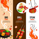Barbecue Party 3 Vertical Banners Set vector illustration