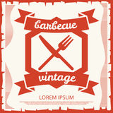 Barbecue party vintage poster design with emblem. Retro banner barbecue. Vector illustration Royalty Free Stock Images