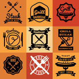 Barbecue party vintage vector emblems, labels, logos for BBQ steak posters Stock Image
