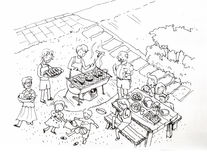 Barbecue party at the yard illustration. Family and friends barbecue party at the yard Royalty Free Stock Images