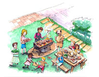 Barbecue party at the yard illustration Royalty Free Stock Photography