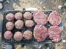 Barbecue per un picnic Fotografia Stock Libera da Diritti