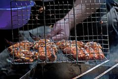 Barbecue photo. Photo with grill, sausage and other roasted meal Royalty Free Stock Photography
