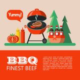 BBQ. Vector illustration. Barbecue, picnic. Appetizing steak is grilled, picnic basket with drinks, ketchup, mustard, tomato. On the background of the forest vector illustration